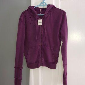 Free People zip up purple sweatshirt new with tags